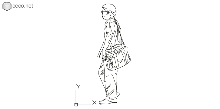 autocad drawing Young college man with a bag on his shoulders in People, Men