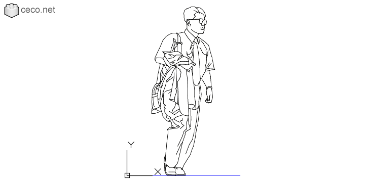 autocad drawing young man with his jacket in his hand and wearing sunglasses in People, Men