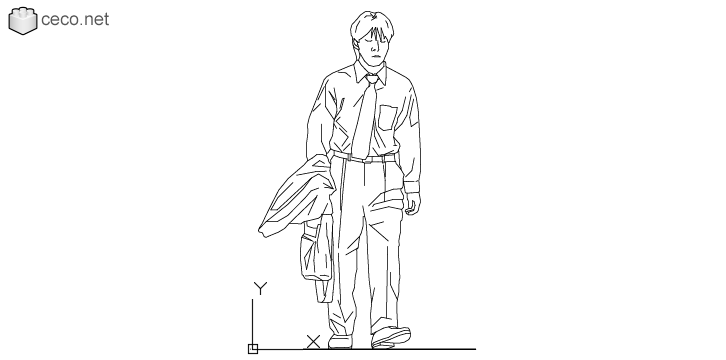 autocad drawing Young man office worker walking in People, Men