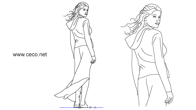 autocad drawing young woman standing in rear view in People, Women