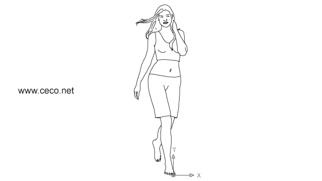 autocad drawing young woman walking barefoot in People, Women